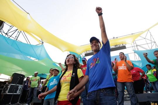 Jorge Rodríguez durante su inicio de campaña en la plaza Oleary