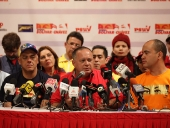 Rueda de prensa en espera de los resultados electorales. 8 de diciembre de 2013