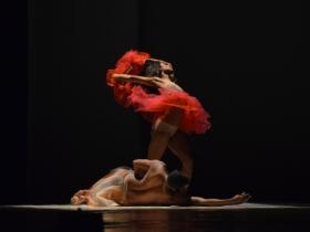 """La obra """"Atopos"""" de la reconocida directora Claudia Capriles, la cual deslumbró al público con la presentación de una obra de danza corporal."""