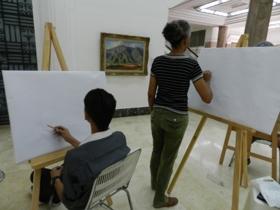 Este jueves finalizó el taller de pintura dictado por el profesor Félix Rodríguez
